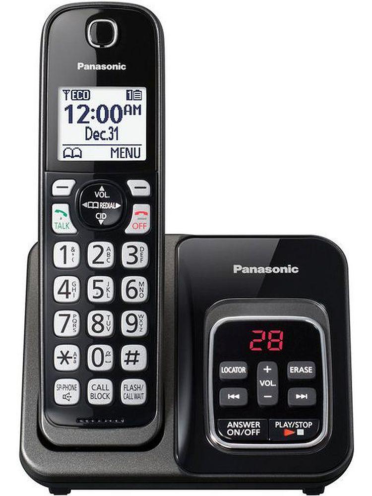 e818ac8b0b69 Panasonic Metallic Black Expandable Cordless Phone With Answering Machine -  KX-TGD530M