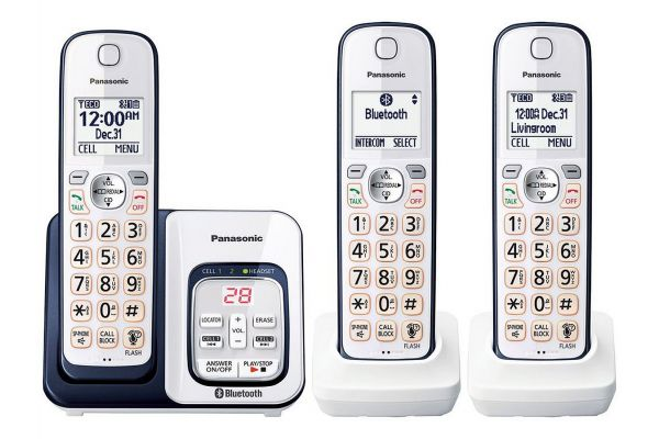 Large image of Panasonic Navy Blue Link2Cell Bluetooth Cordless Phone With 3 Handsets - KX-TGD563A