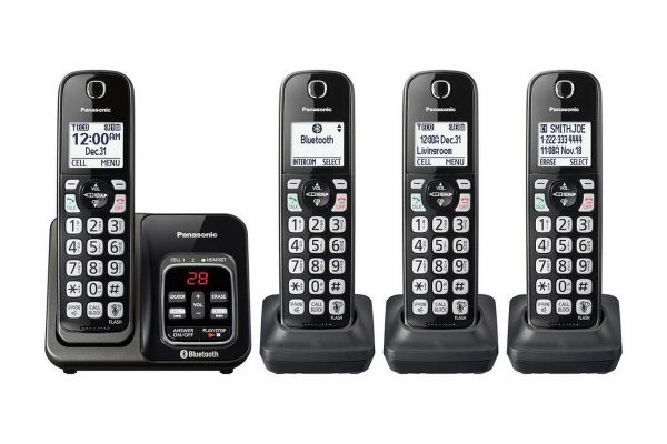 Large image of Panasonic Metallic Black Link2Cell Bluetooth Cordless Phone With 4 Handsets - KX-TGD564M