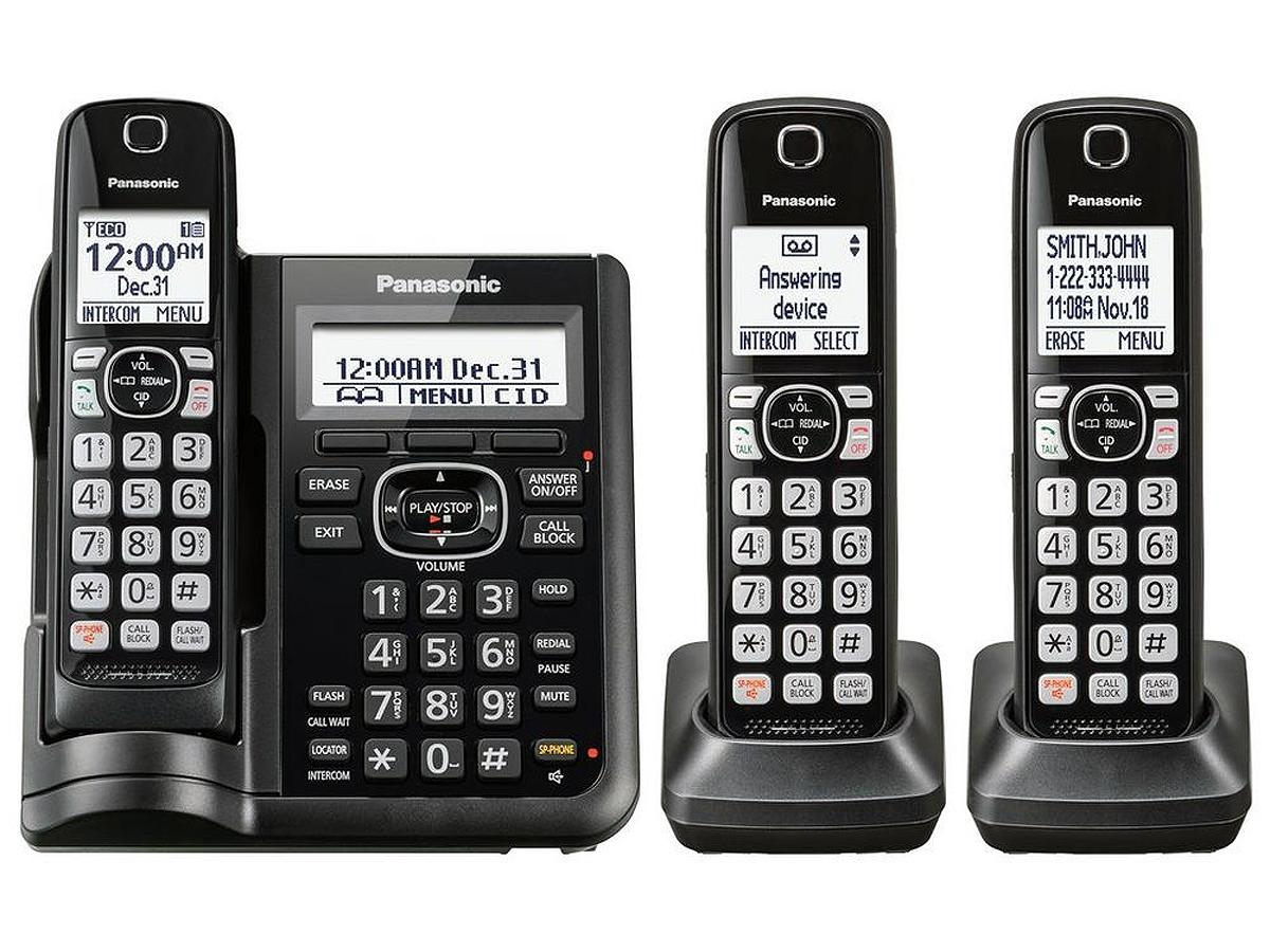 Panasonic Black Cordless Phone With 3 Handsets Kx Tgf543b
