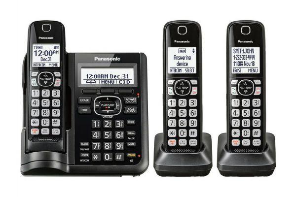 Large image of Panasonic Black Cordless Phone With 3 Handsets - KX-TGF543B