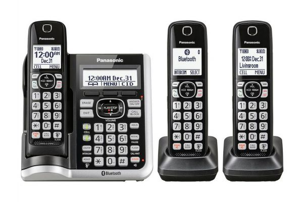 Panasonic Black Link2Cell Bluetooth Cordless Phone With 3 Handsets - KXTGF573S - KX-TGF573S