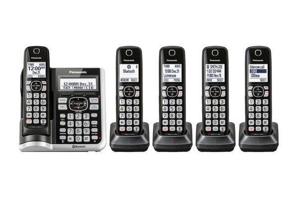 Panasonic Black Link2Cell Bluetooth Cordless Phone With 5 Handsets - KX-TGF575S