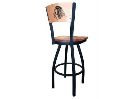 """Holland Bar Stool Co. Black Wrinkle Chicago Blackhawks 30"""" Swivel Stool  - L03830BWMEDMPLACHIHWKBLKVINYL"""
