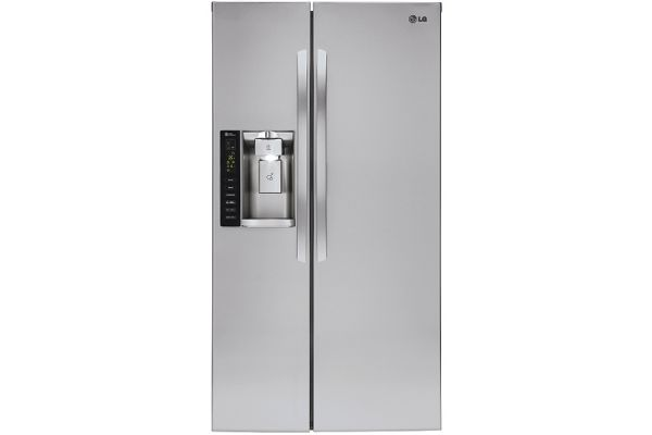 Large image of LG 22 Cu. Ft. Stainless Steel Smart Wi-Fi Enabled Side-By-Side Counter-Depth Refrigerator - LSXC22426S