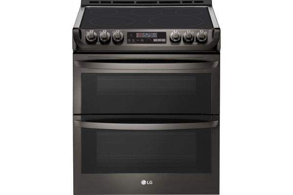 LG Black Stainless Steel Slide-In Double Electric Convection Range - LTE4815BD