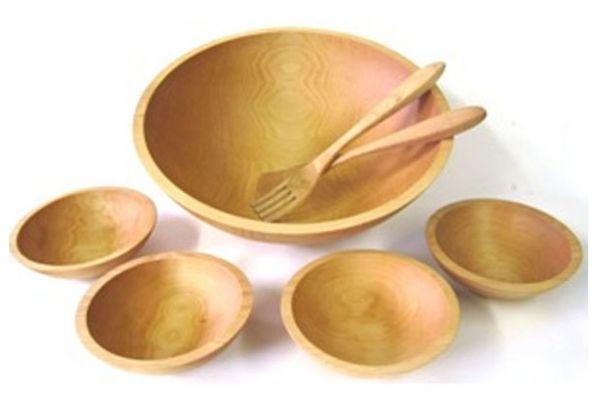 "Large image of Holland Bowl Mill Sugar Maple 15"" Wooden Salad Bowl Set - M115B7S"