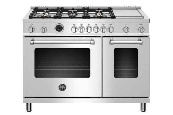 "Large image of Bertazzoni Master Series 48"" Stainless Steel Dual Fuel Range - MAST486GDFSXT"
