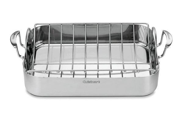 "Large image of Cuisinart 16"" Stainless Steel Roasting Pan With Rack - MCP117-16BR"