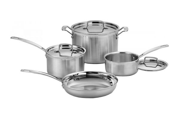 Large image of Cuisinart MultiClad Pro Stainless Steel 7-Piece Cookware Set - MCP-7N