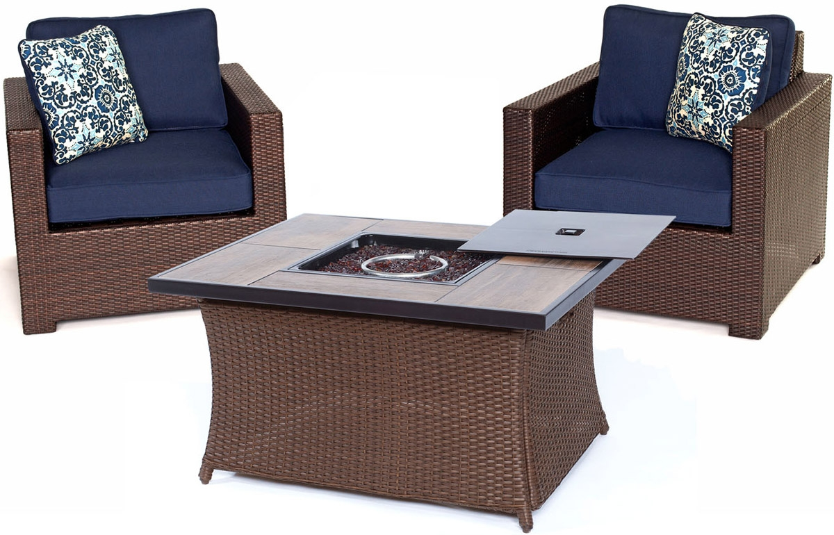 Hanover navy metropolitan chat patio set met3pcfp nvy a for Outdoor furniture big w