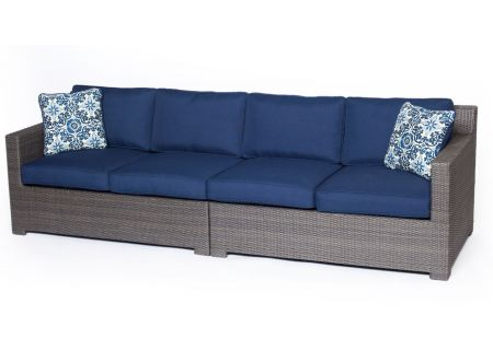 Hanover Metropolitan Navy Blue & Grey 2-Piece Outdoor Seating Patio Set  - METRO2PC-G-NVY