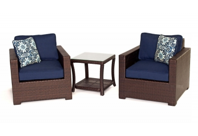 Hanover - METRO3PC-B-NVY - Patio Seating Sets
