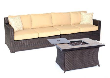 Hanover Metropolitan 3-Piece Loveseat Set with Stone Tile-Top Fire Pit Table - METRO3PCFP-TAN-B