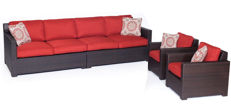 Hanover metropolitan 4 piece seating set metro4pc b bry for Outdoor furniture big w