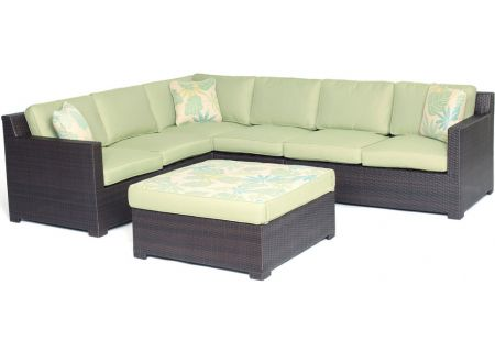 Hanover Metropolitan Avocado Green 5-Piece Outdoor Seating Set - METRO5PC-B-GRN