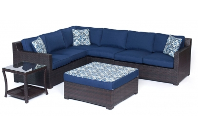 Hanover - METRO6PC-B-NVY - Patio Seating Sets