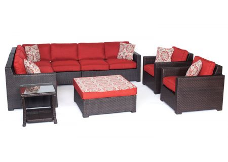 Hanover Metropolitan Autumn Berry & French Roast 8-Piece Outdoor Lounge Patio Set  - METRO8PC-B-BRY