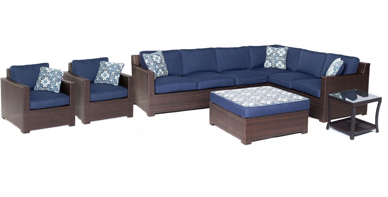 Hanover metropolitan 8 piece lounge set metro8pc b nvy for Outdoor furniture big w
