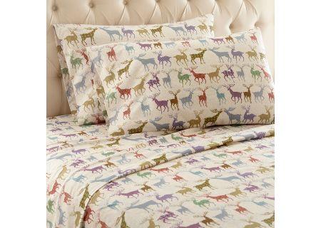 Shavel Micro Flannel California King Colorful Deer Sheet Set  - MFNSSCKCFD