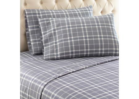Shavel Micro Flannel King Carlton Gray Plaid Sheet Set  - MFNSSKGCPG