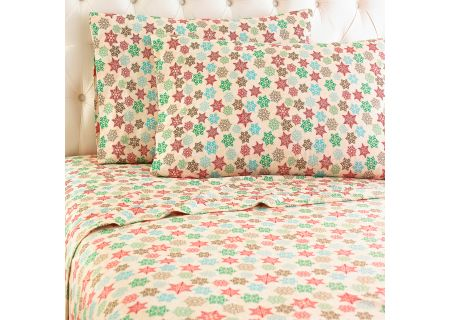 Shavel Micro Flannel Queen Snowflake Sheet Set  - MFNSSQNSFL