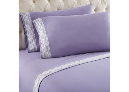 Shavel Micro Flannel California King Amethyst Lace Edged Sheet Set - MFNVLCKAMT