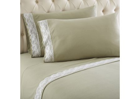 Shavel Micro Flannel Queen Meadow Lace Edged Sheet Set - MFNVLQNMDW
