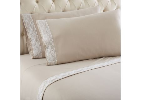 Shavel Micro Flannel Queen Taupe Lace Edged Sheet Set - MFNVLQNTAU