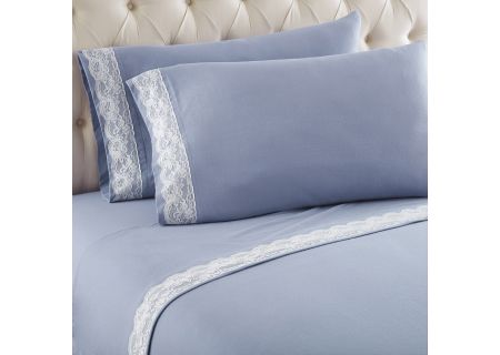 Shavel Micro Flannel Queen Wedgewood Lace Edged Sheet Set - MFNVLQNWDG