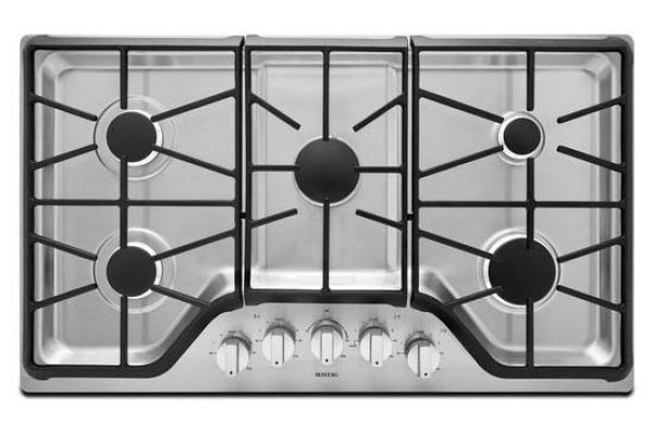 """Large image of Maytag 36"""" Stainless Steel Gas Cooktop - MGC9536DS"""