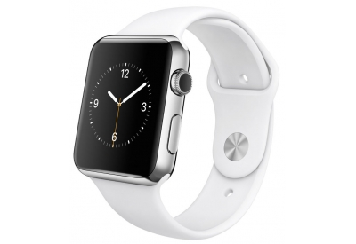 Apple Watch 42mm Stainless Steel Case With White Sport Band - MJ3V2LL/A