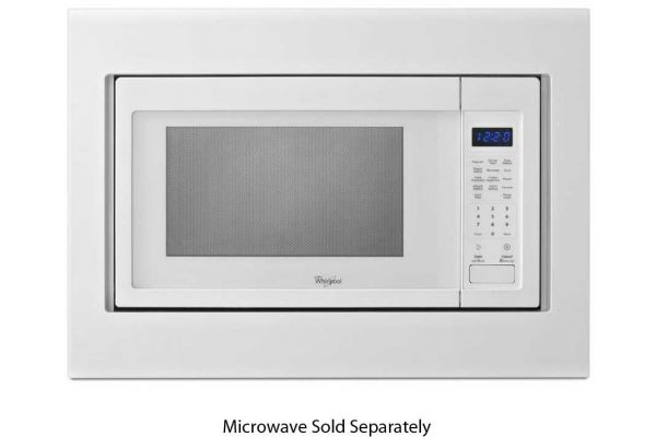 """Large image of KitchenAid 27"""" White Built-In Microwave Oven Trim Kit - MK2167AW"""