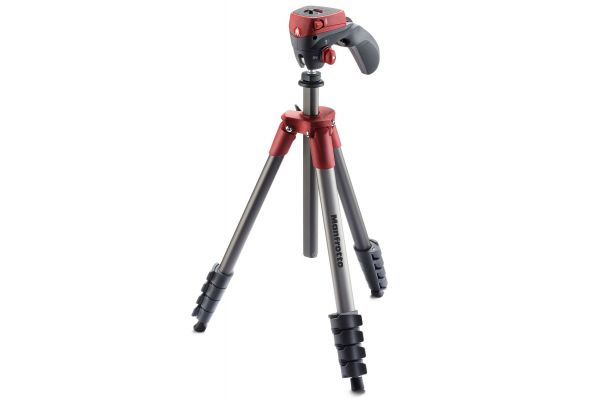 Manfrotto Red Compact Action Aluminium Tripod With Hybrid Head - MKCOMPACTACN-RD