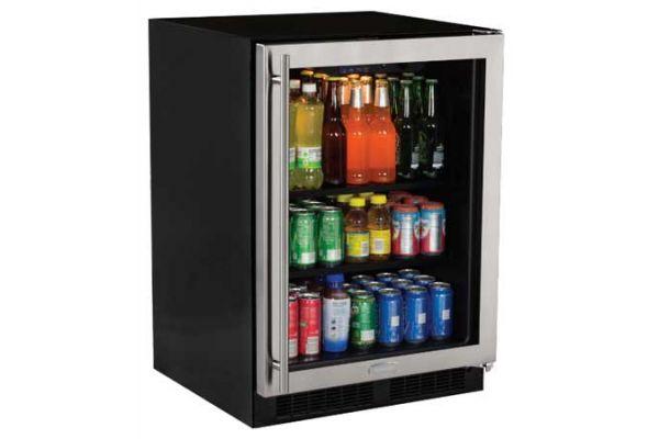 "Marvel 5.6 Cu. Ft. 24"" Stainless Steel Glass Door Beverage Center - ML24BCG0RS"
