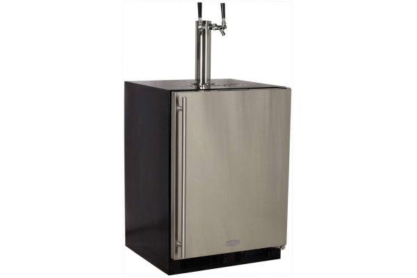 "Marvel 24"" Twin Tap Stainless Steel Beer Dispenser  - ML24BTS2RS"