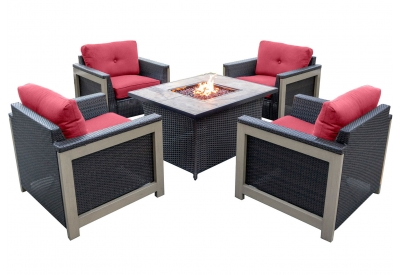Hanover - MNT5PCFP-RED-TN - Patio Seating Sets