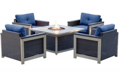 Hanover - MNT5PCFPST-NVY - Patio Seating Sets