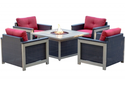 Hanover - MNT5PCFPST-RED - Patio Seating Sets