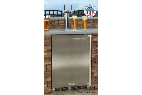 """Large image of Marvel 24"""" Stainless Steel Right-Hinge Outdoor Built-In Beer Dispenser - MO24BTS2RS"""