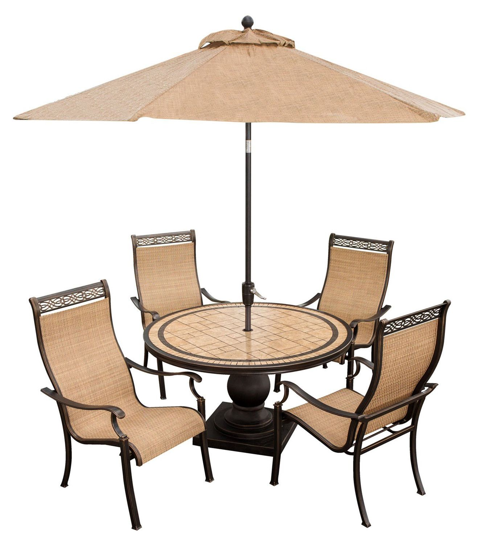 Hanover monaco 5pc dining set w umbrella monaco5pc su for Outdoor furniture big w