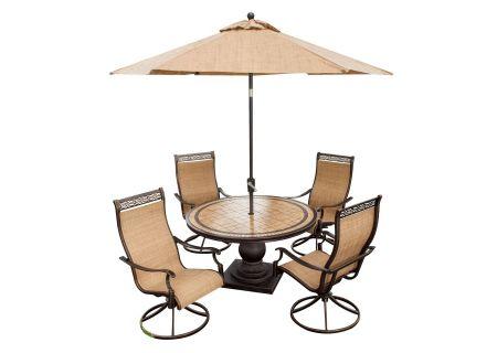 Hanover Brown Monaco 5-Piece Outdoor Dining Patio Set with Umbrella - MONACO5PCSW-SU