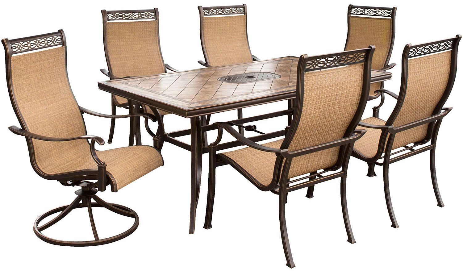 Hanover Brown 7-Piece Outdoor Dining Set - MONACO7PCSW