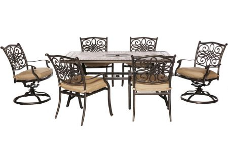 Hanover Natural Oat Monaco 5-Piece Outdoor Dining Patio Set - MONDN7PCSW-2