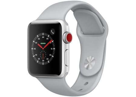 Apple Watch Series 3 38mm GPS + Cellular Silver Aluminum Case With Fog Sport Band - MQJN2LL/A