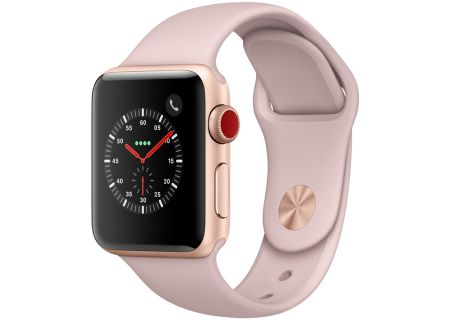 Apple Watch Series 3 38mm GPS + Cellular Gold Aluminum Case With Pink Sand Sport Band - MQJQ2LL/A