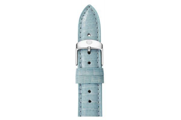 Large image of Michele 16mm Blue Smoke Lizard Watch Strap - MS16AA030477
