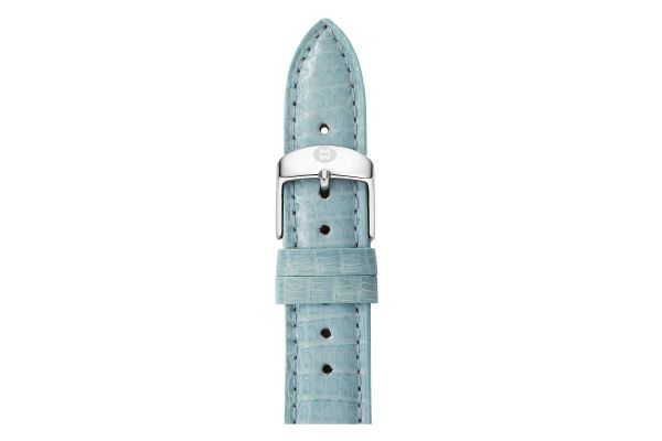 Michele 18mm Blue Smoke Lizard Watch Strap - MS18AA030477
