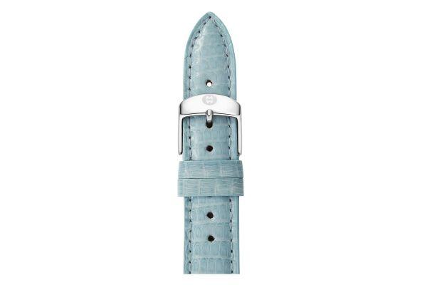 Large image of Michele 18mm Blue Smoke Lizard Watch Strap - MS18AA030477