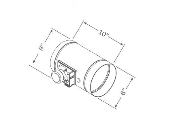 """Large image of Zephyr 6"""" Universal Make-Up Air Damper Kit  - MUA006A"""